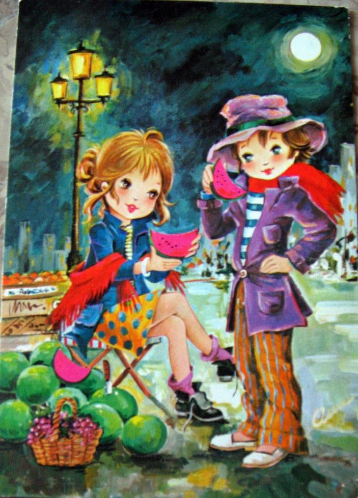 дети на картинах открытках