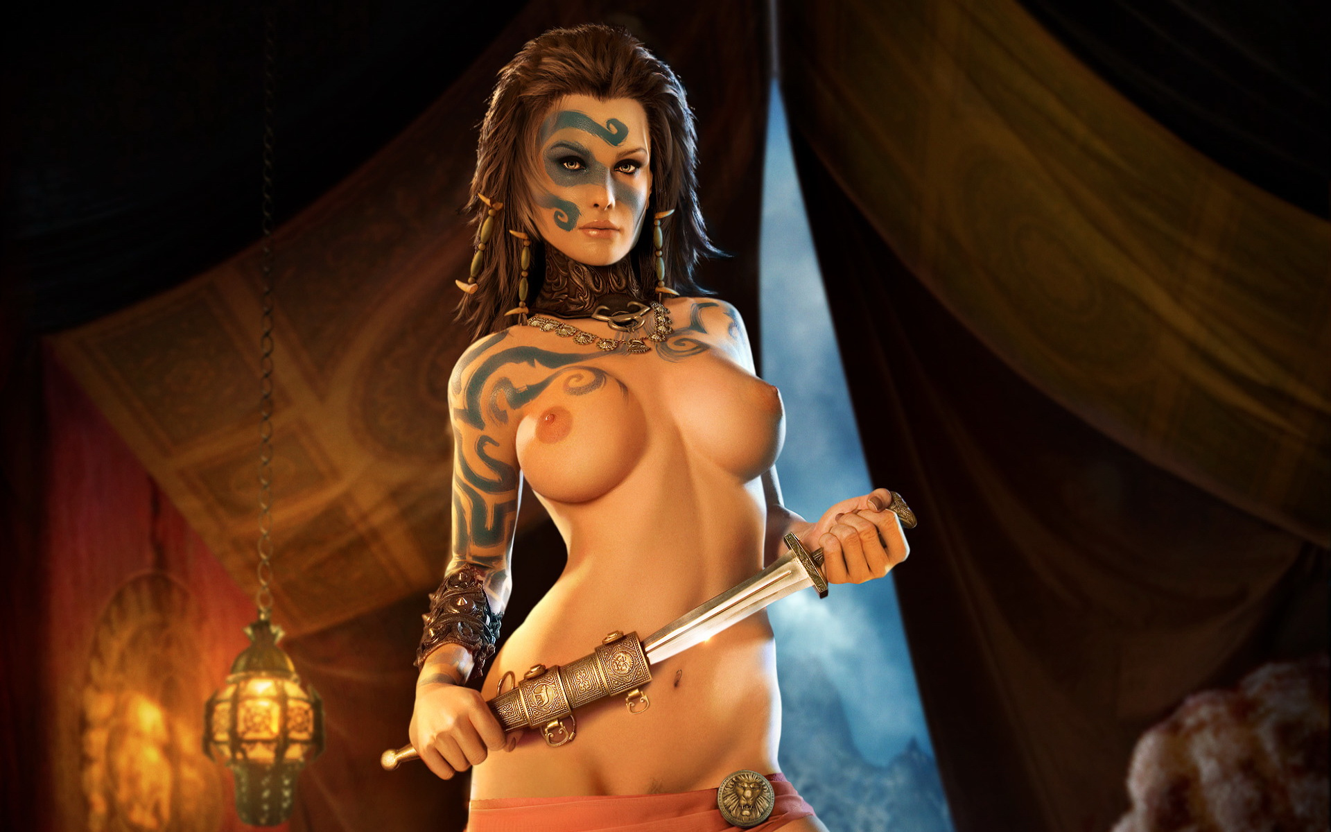 Fantasy erotic big breast female warriors with  nackt photo