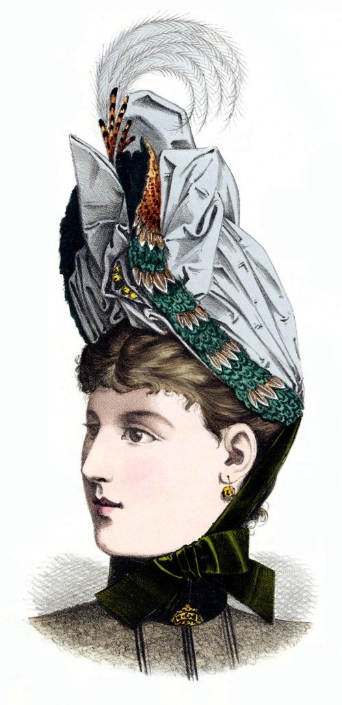 Модели шляп, головных уборов и украшений 1889 года (19 работ)