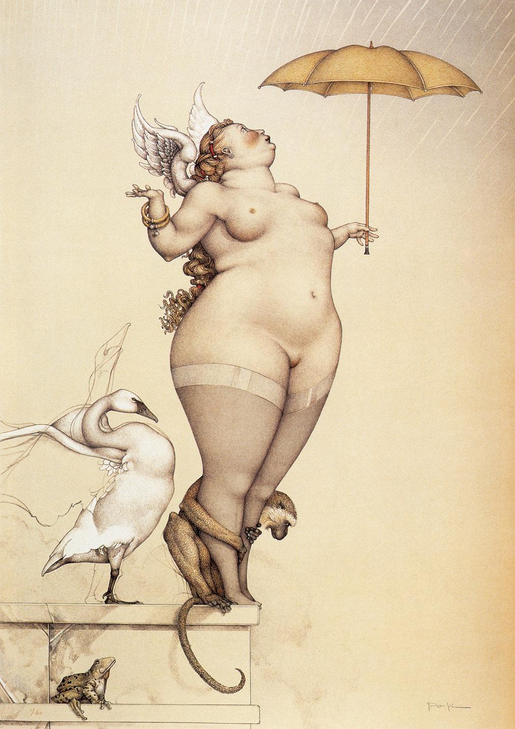 Рисованные толстушки в стиле ню 10 фотография