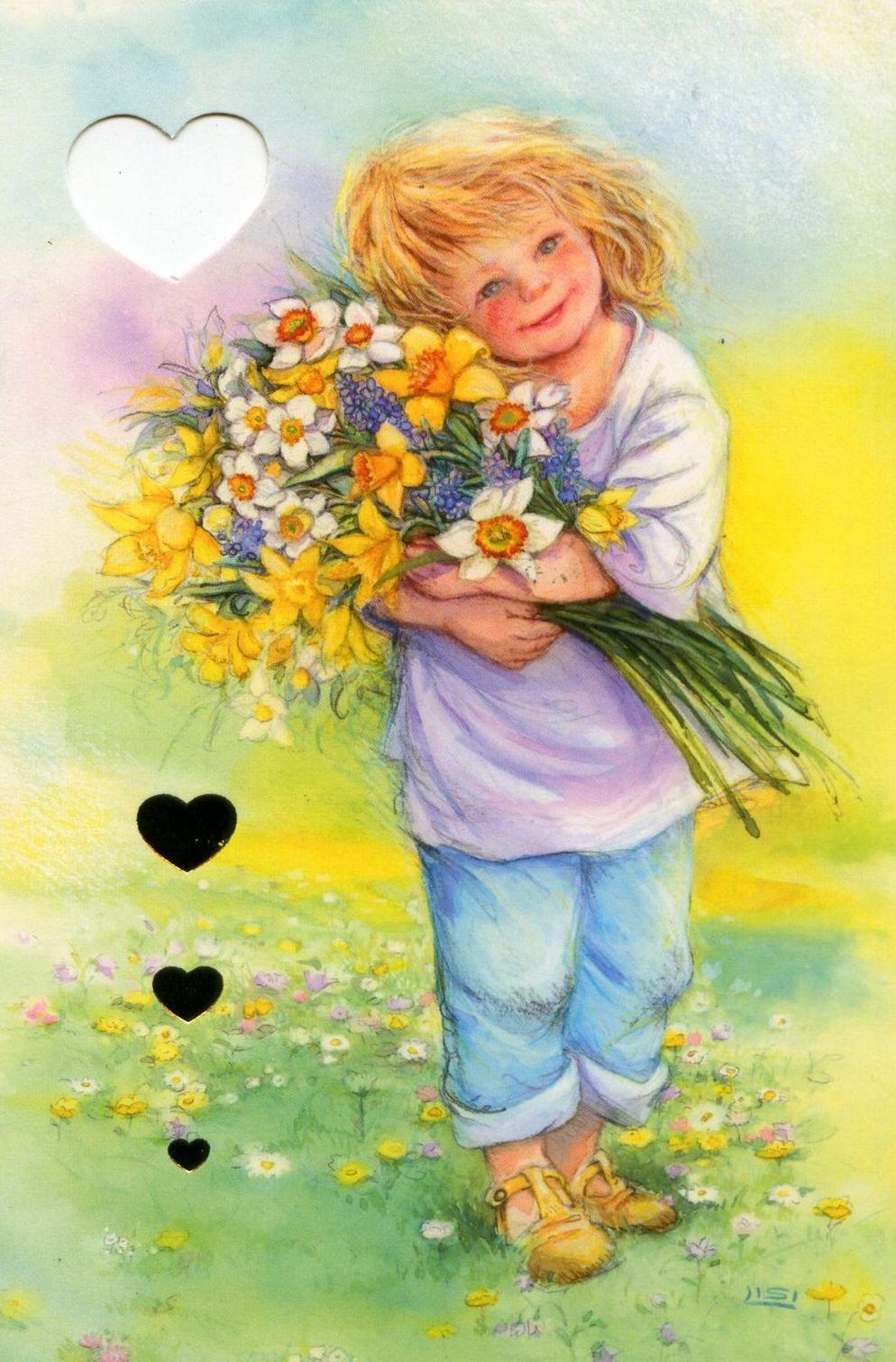 Девочка с цветами открытка 36