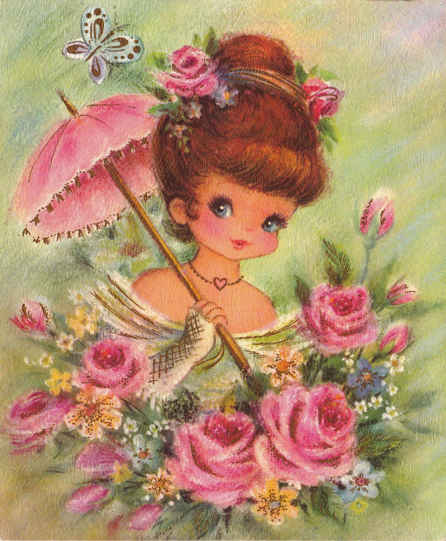 Девочка с цветами открытка 52