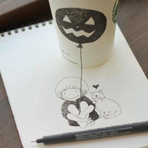 Томоко Синтани (Tomoko Shintani) - Starbucks Drawings (46 работ)