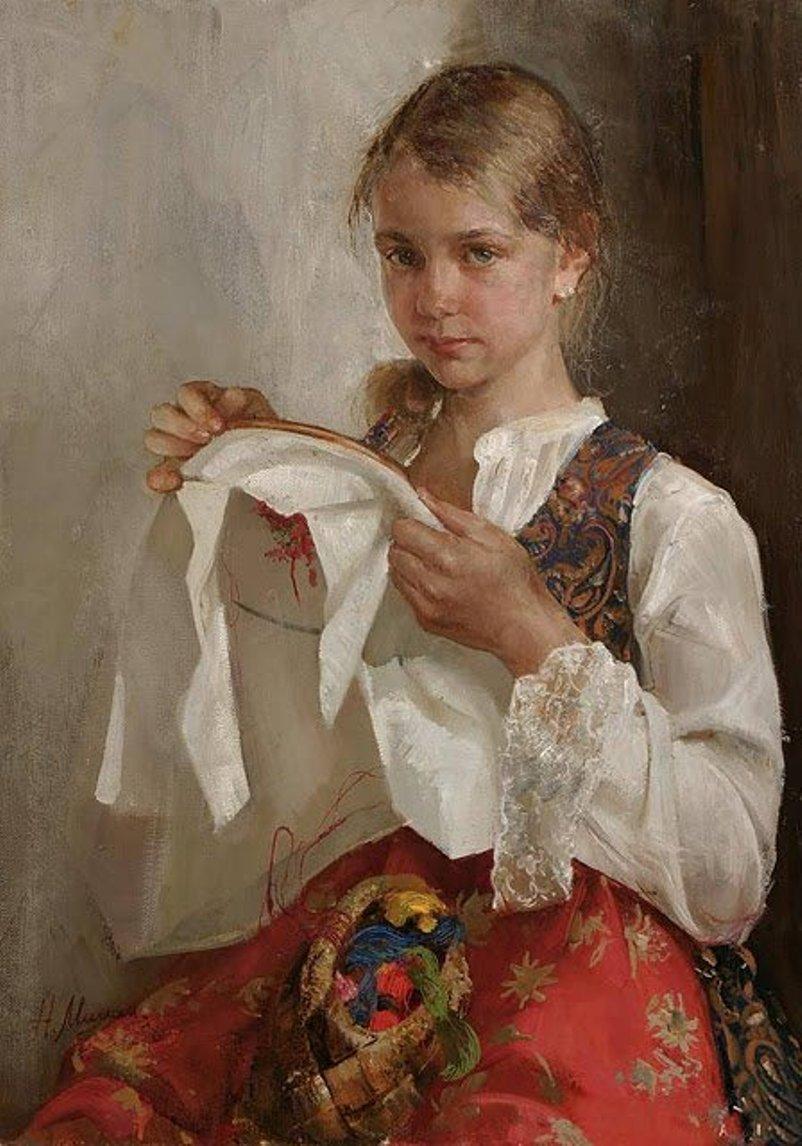 Вышивка картины девушка