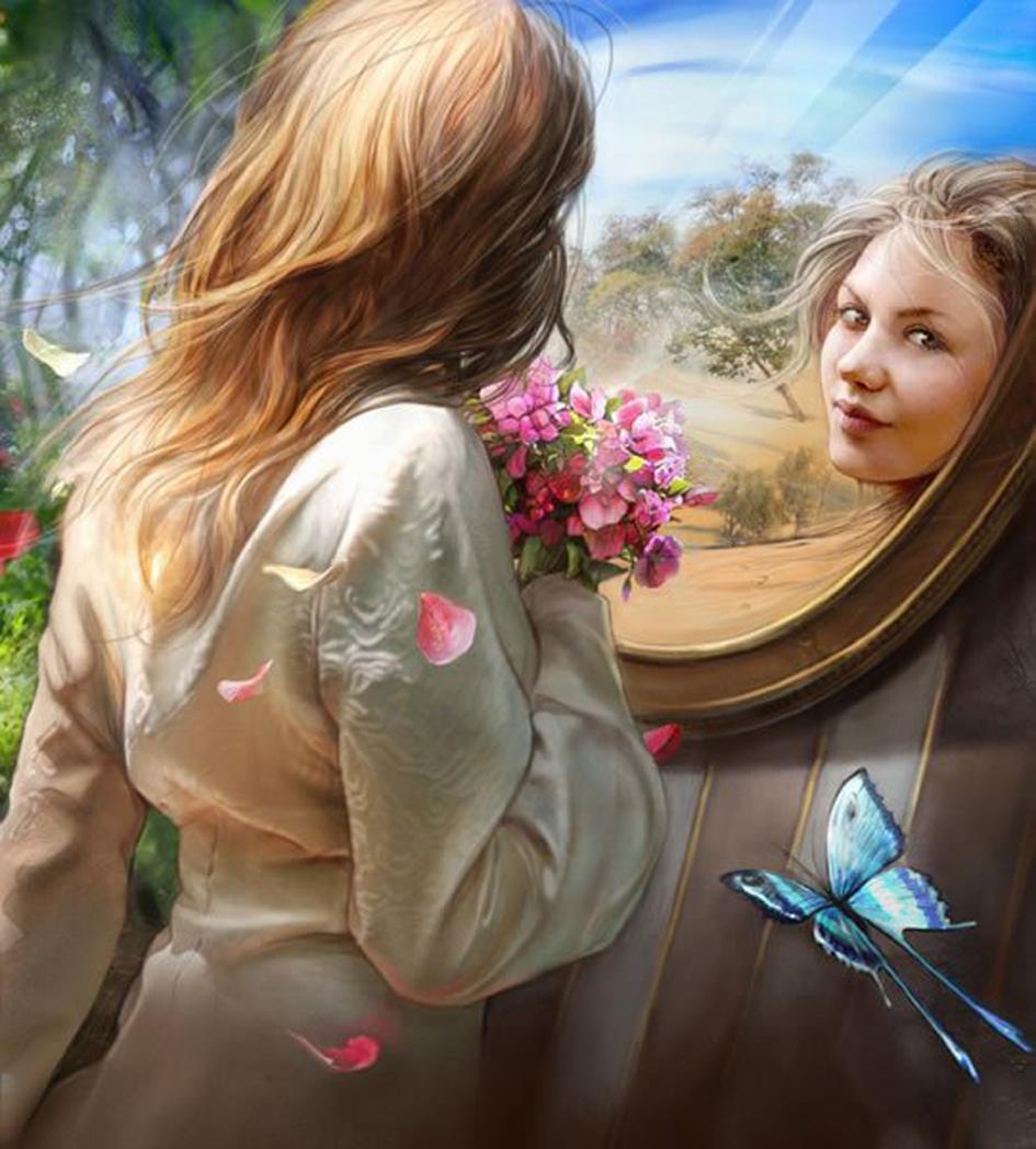 Девушки с цветами фото в зеркале