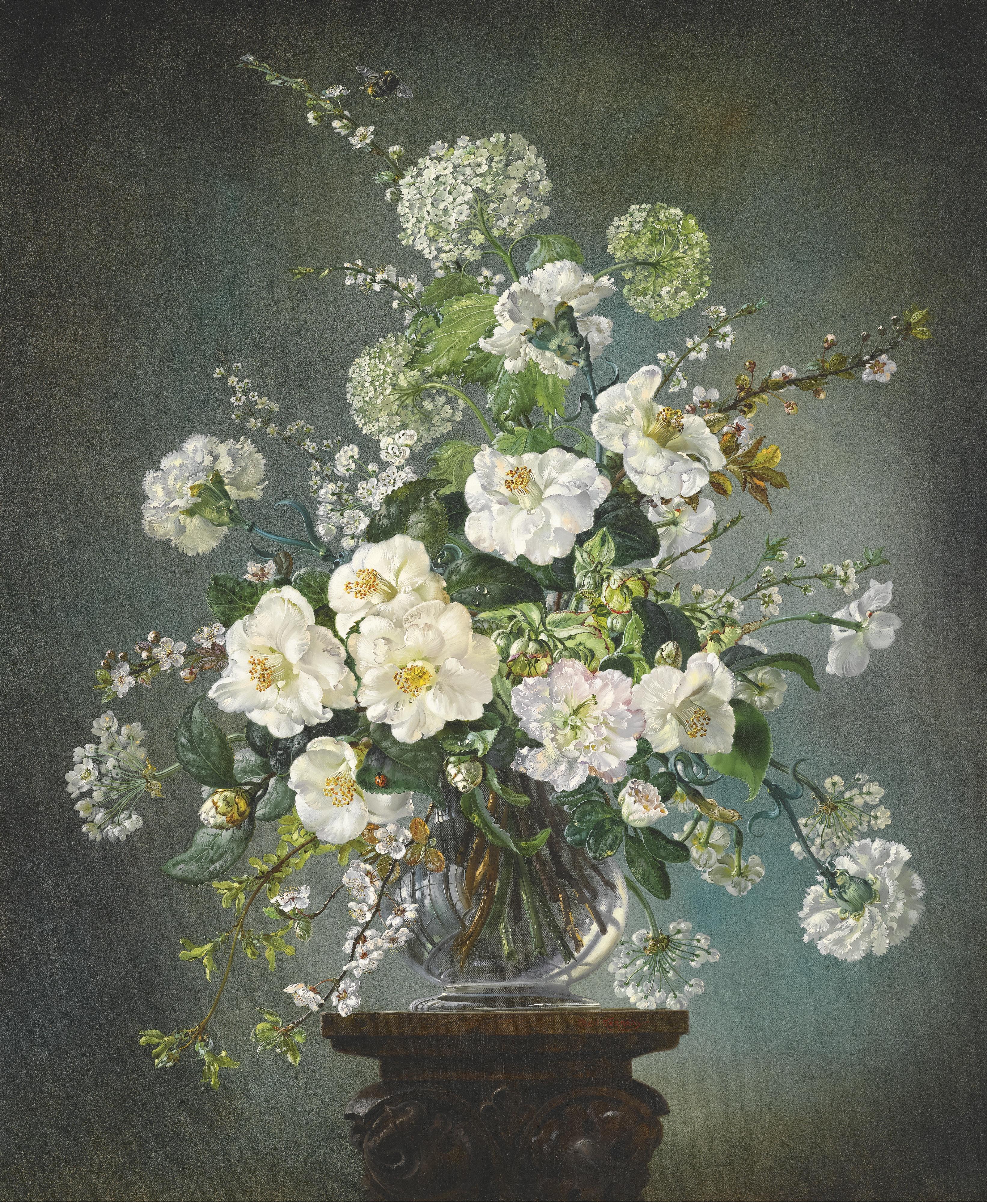 Букет белых цветов вышивка
