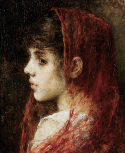 Портрет молодой девушки с красной вуалью. Alexei Alexeievich H