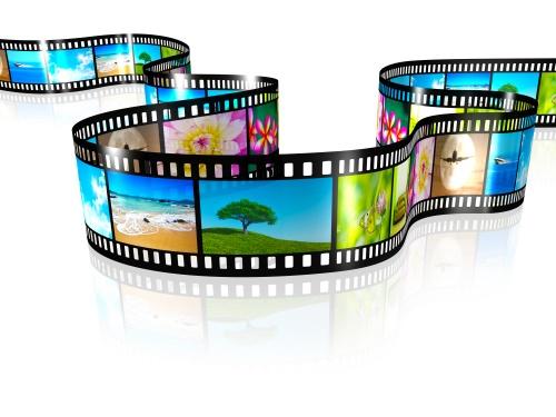 Растровый клипарт - Кинопленка с цветными кадрами на белом фоне (11 фото)