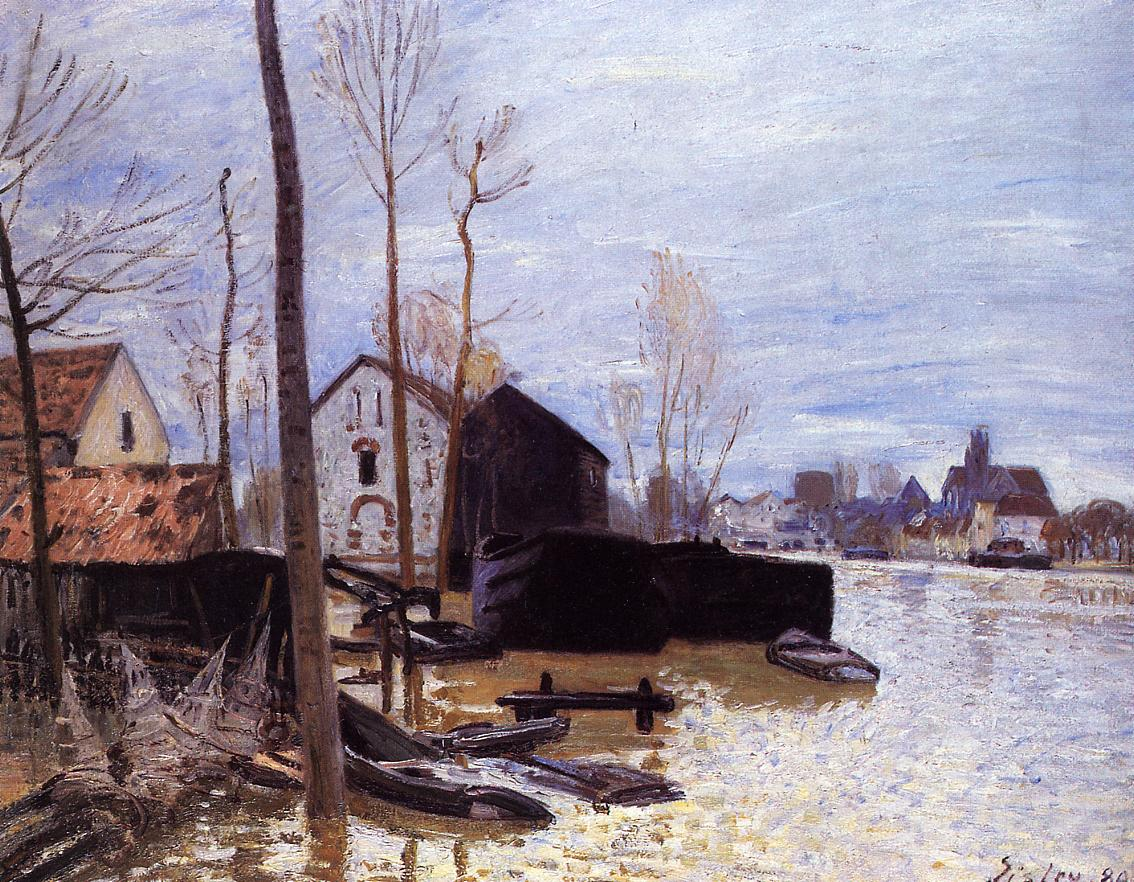 an analysis of the flood at port marley by alfred sisley 18 x 24 alfred sisley a scene of barges on the saint-martin canal premium alfred sisley the barge port and of barges on the saint-martin canal print.