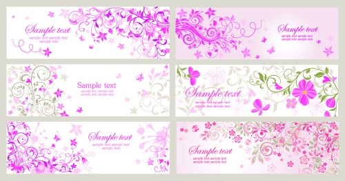 Floral banners with swirls (11 фото)