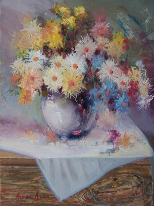 Художник Avram Danuti. Цветочные натюрморты (37 работ)