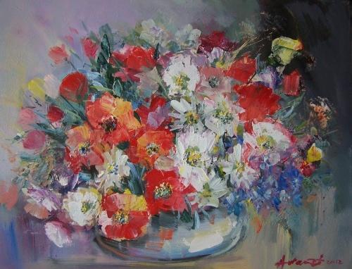 Художник Avram Danuti. Цветочные натюрморты (37 фото)