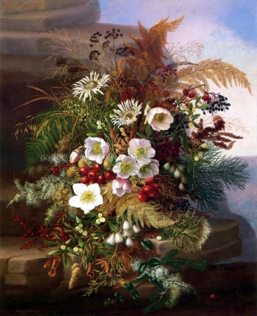 Maria Adelheid Dietrich (1827-1891). Цветочные натюрморты (27 фото)