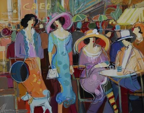 Атмосфера парижских кафе... Художник Issac Maimon (35 фото)