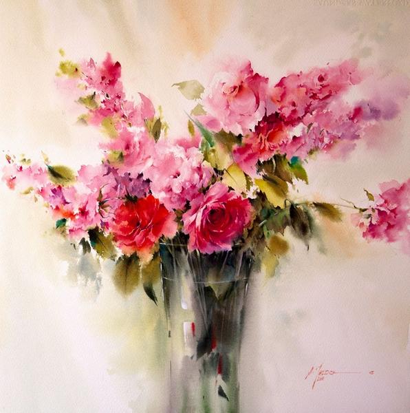 花卉水彩画