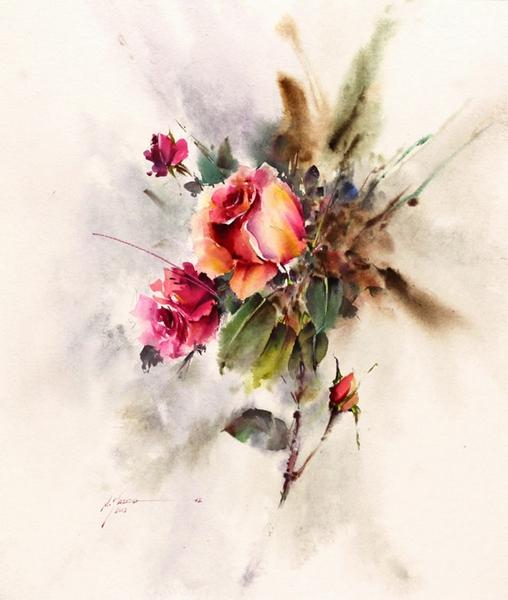 花卉水彩画欣赏