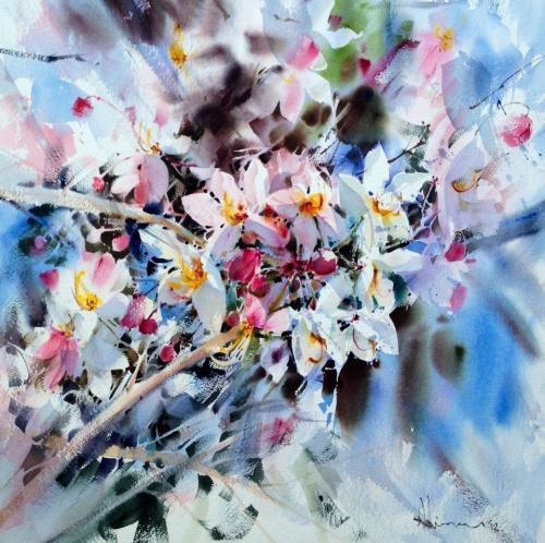 Художник Adisorn Pornsirikarn. Акварель. Великолепные цветы (41 фото)