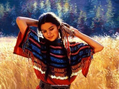Художница Karen Noles - картины с детьми американских индейцев (39 работ)