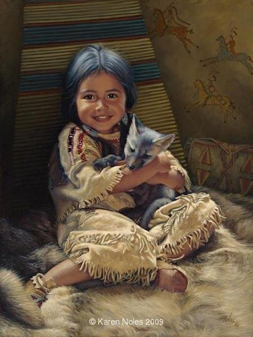 Художница Karen Noles - картины с детьми американских индейцев (39 фото)