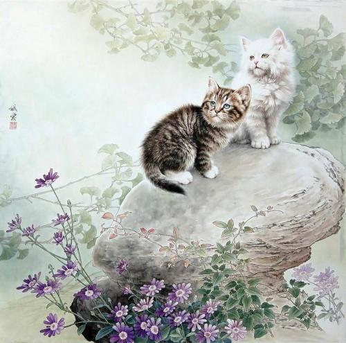 Китайские коты в живописи (31 работ)