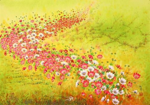 Яркие космеи в картинах Won Seong Gi (16 работ)