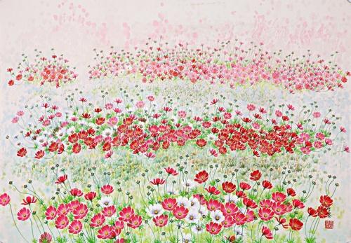 Яркие космеи в картинах Won Seong Gi (16 фото)