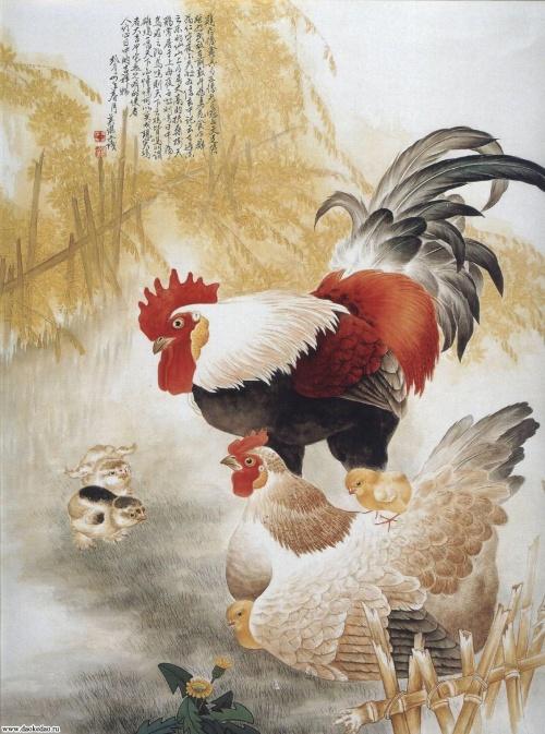 Китайская живопись – Петухи, куры, цыплята (33 работ)