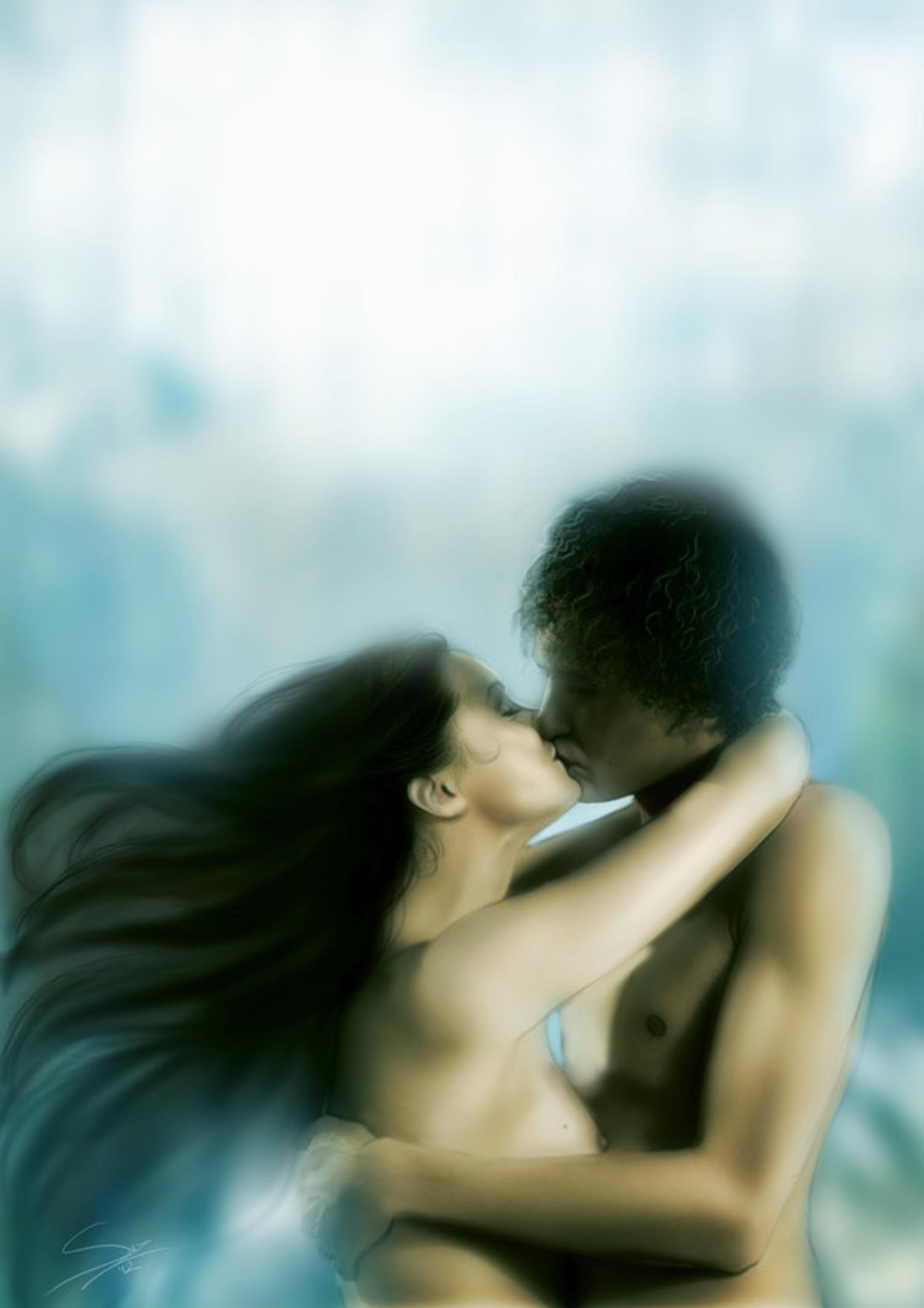 Поцелуй с брюнеткой картинки 20 фотография