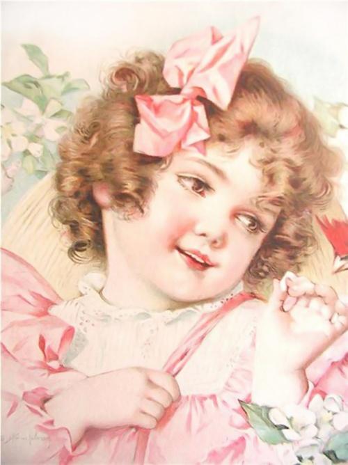 Девочка на старинных открытках 394