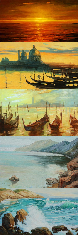 Морские и венецианские пейзажи в работах художника Mikhail Zahranichny (57 работ)