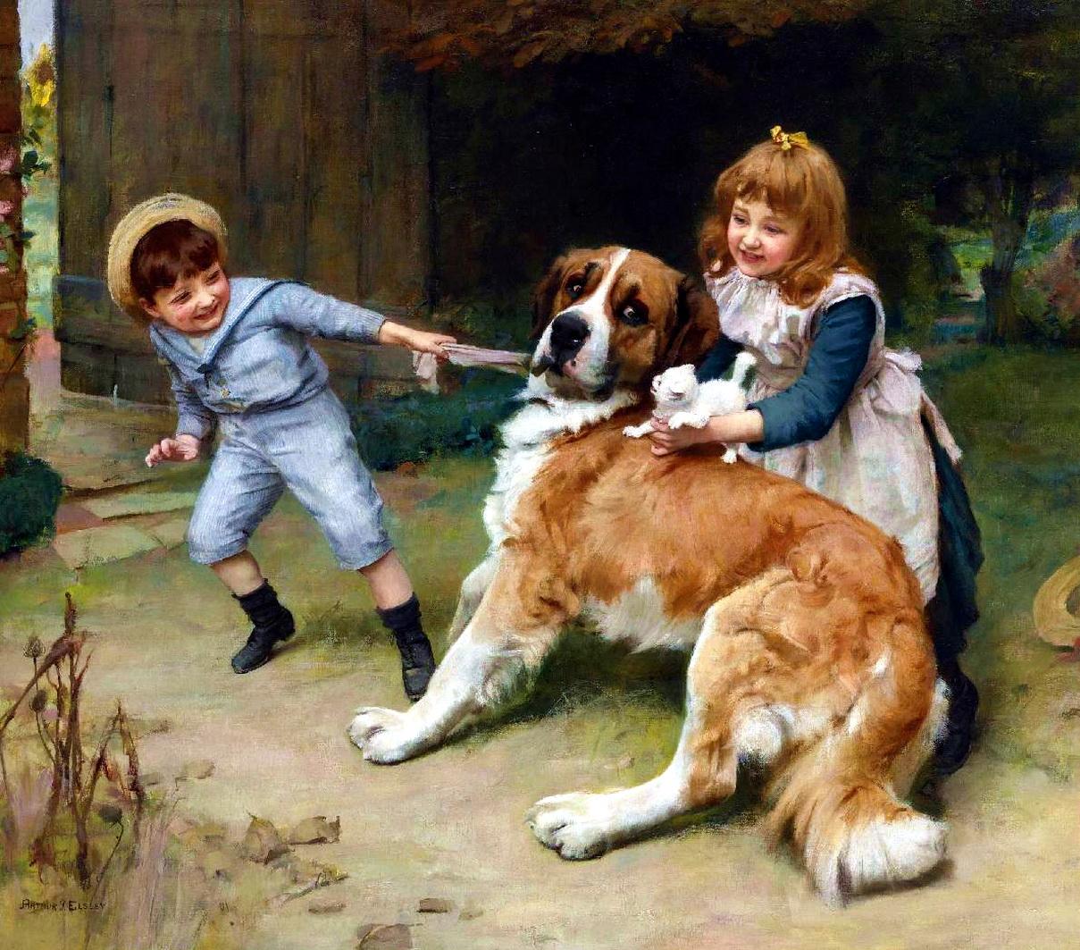 старинные картинки собак переговоров