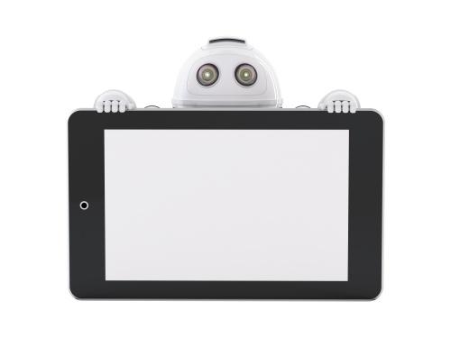 Роботы с плакатом и смартфоном (5 работ)