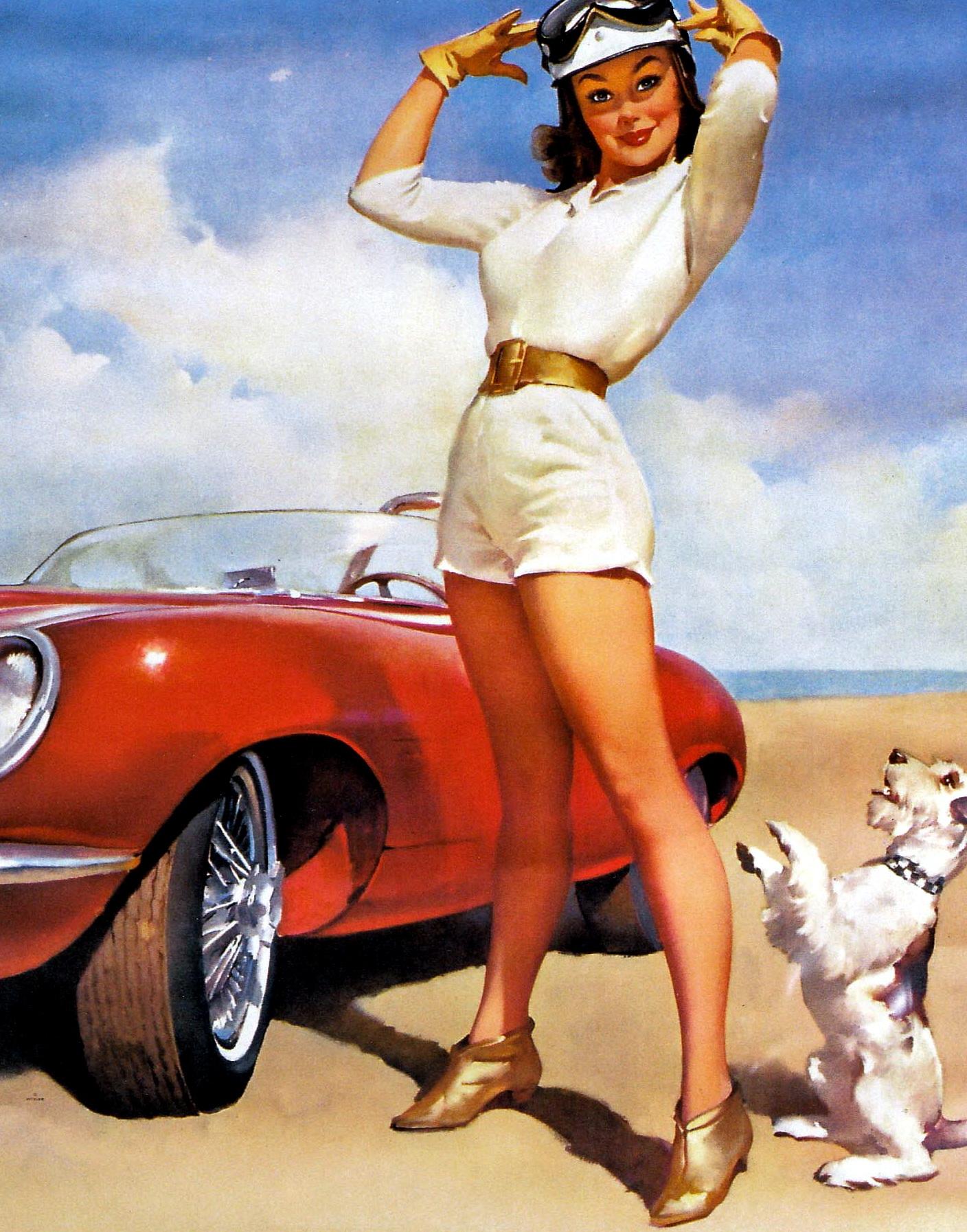 Рисунки девушка в кабриолете ретро 4