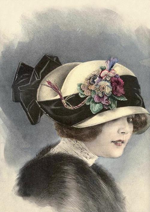 Image of woman on old postcard 16 | Женский образ на старой открытке 16 (64 работ)