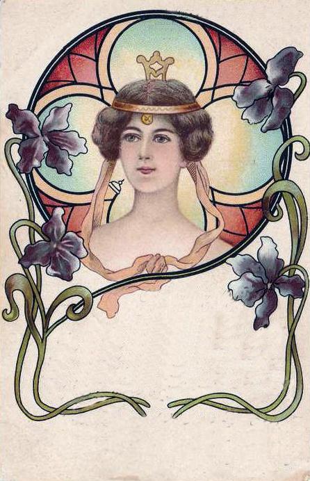 Image of woman on old postcard 16 | Женский образ на старой открытке 16 (64 фото)
