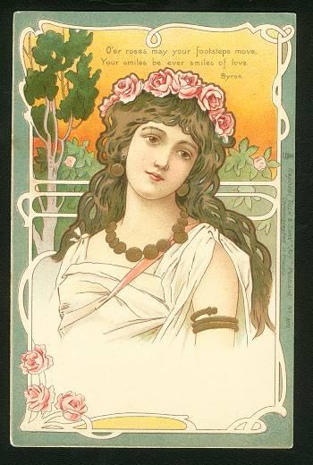 Image of woman on old postcard 15 | Женский образ на старой открытке 15 (150 фото)
