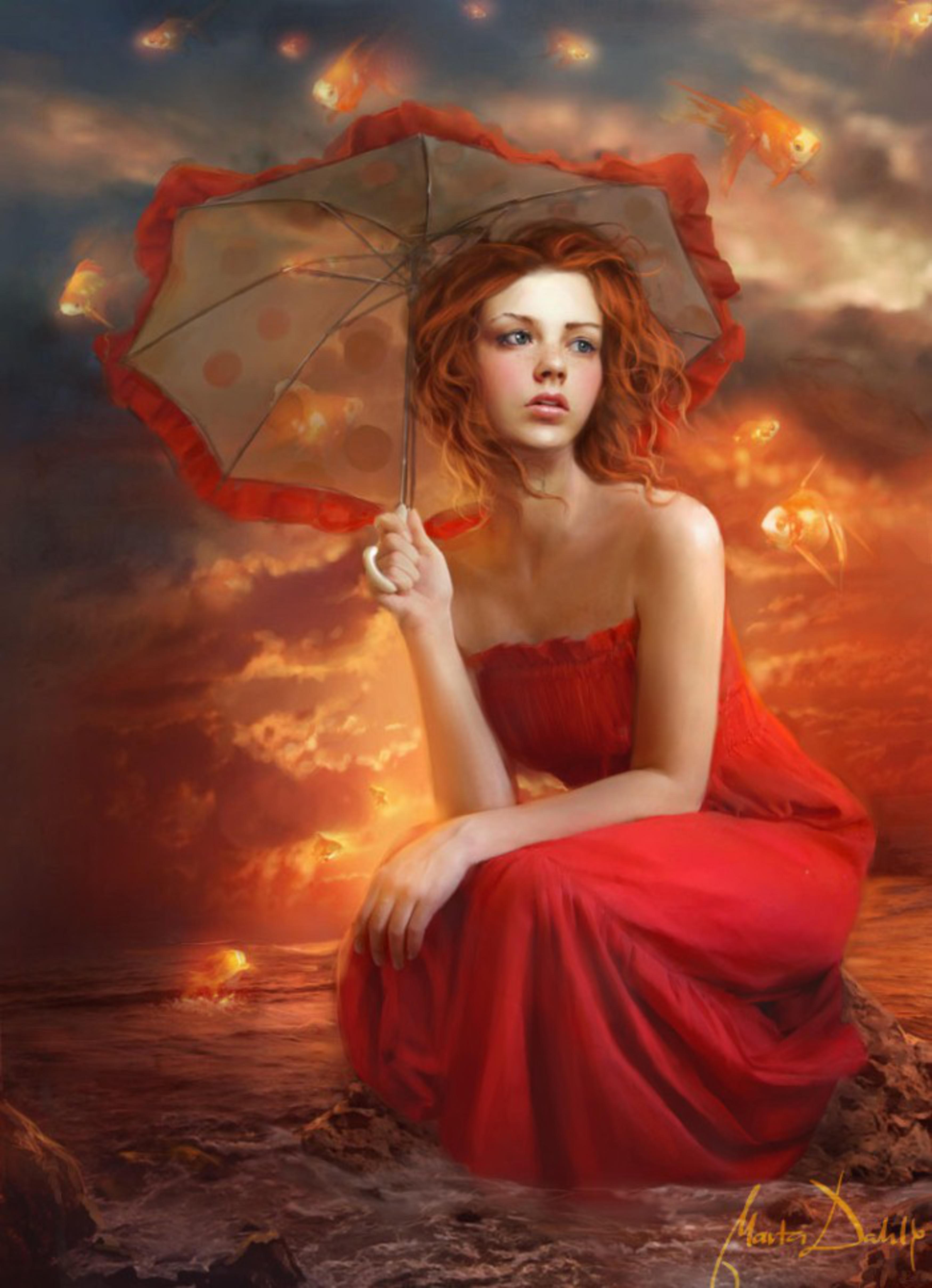 Рыжая в красном халате 19 фотография