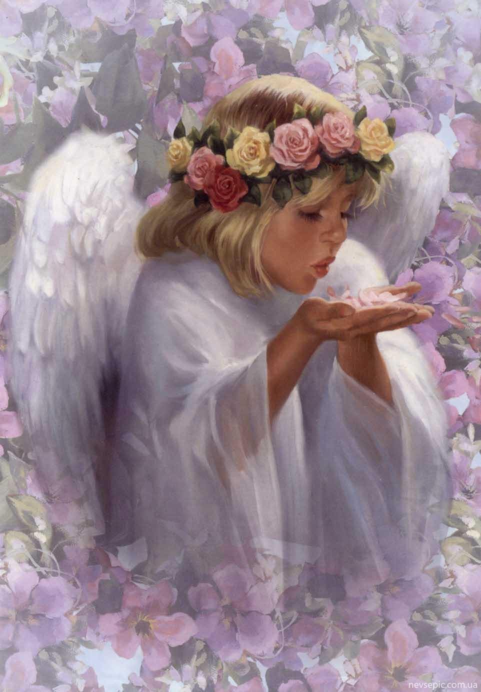 Фото девушка ангел с цветами