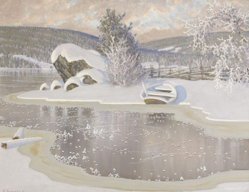 Зима в картинах Gustaf Fjaestad (Sweden,1868-1948) (33 работ)